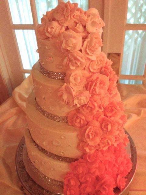 Coral Roses Cascade Cake with Diamonds