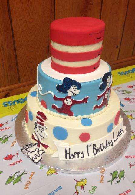 Dr. Seuss First Birthday Cake