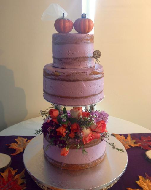 Naked Purple Fall Wedding Cake