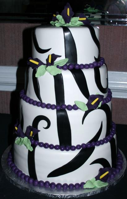 Wedding Cake with Purple Tiger Lilies