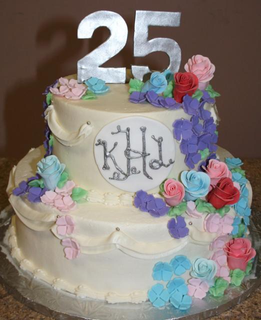 Monogram Anniversary Cake