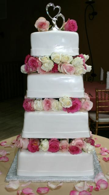 Floating Wedding Cake with Pink Roses