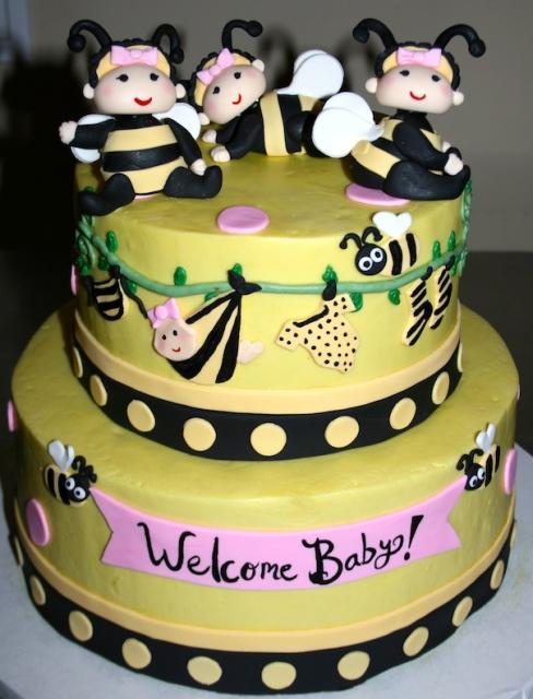 Baby Bees Shower Cake