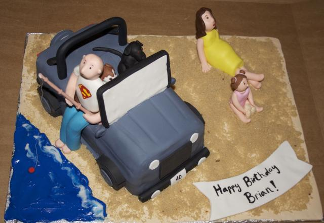 Sculpted Jeep Fishing Cake
